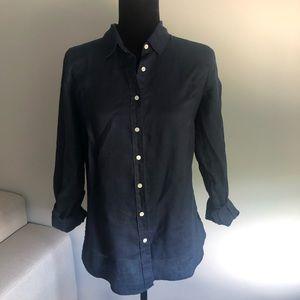 J Crew navy blue linen button down shirt